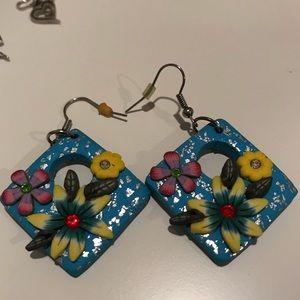 Handmade tropical statement earrings